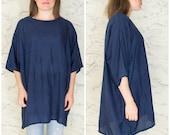Katherine Hamnett London blue silk shirt | Dark blue silk t-shirt | Blue silk top | Navy silk tee tunic