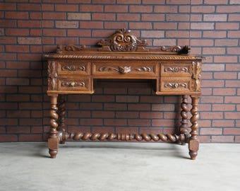 Desk / Antique Barley Twist Desk / English Style Writing Desk / Vintage Desk