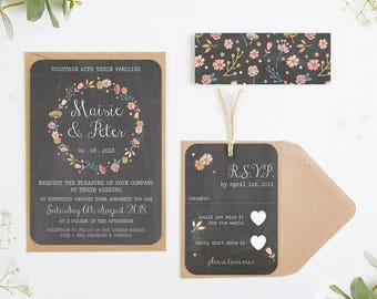 Floral Chalkboard wedding invitation bundle - Fall Autumn Wedding