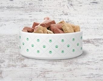 Paw Prints Pet Bowl Small or Large Dog Bowl Ceramic Cat Bowl Dish Pet