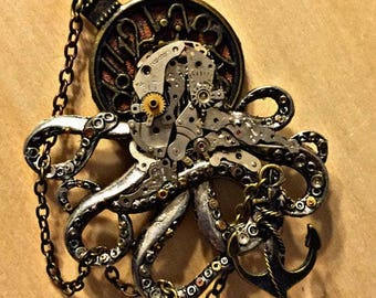Steampunk octopus hair clip or brooch