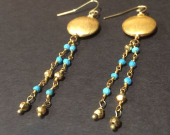 Turquoise and gold earrings, Turquoise tassel earrings, Gold turquoise earrings, Turquoise gold earrings, Gold tassel earrings