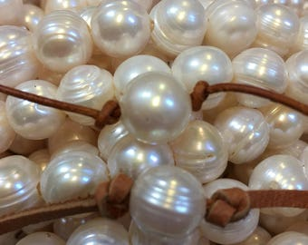 12mm to 14mm large holed, large white pearls , ~32 pearls per strand, Natural Freshwater Pearls for leather, large hole pearls