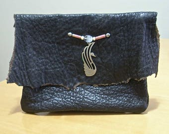 FREE SHIPPING! Black leather boho hip belt pouch with silver bird ornament