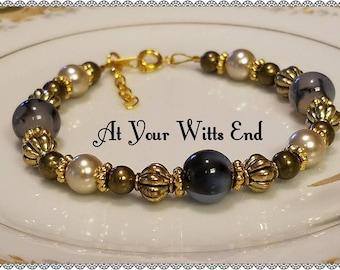 Elegant Beaded Bracelet, gold bracelet, beaded bracelet, womens jewelry