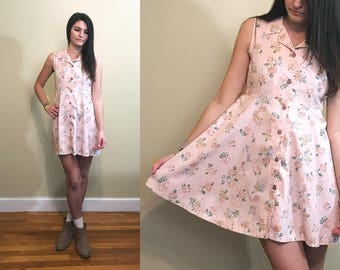 Vintage Handmade Button Up Collared Sleeveless Pink Floral Dress Size XS