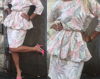 1980s Hawaiian peplum dress