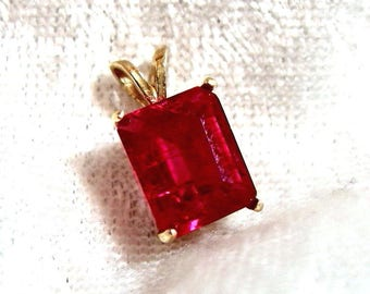 Ruby Pendant, Chatham Ruby Pendant Solid 14K Gold