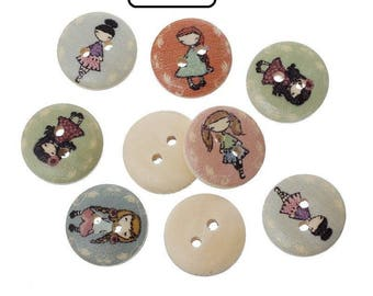 Mixed pattern 2 hole 15mm ref girl wooden buttons: BB001F