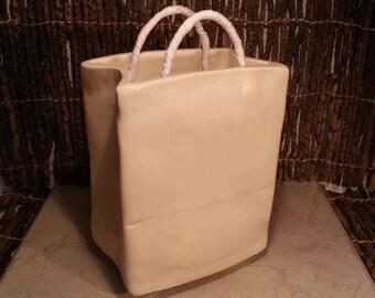 Custom Cremation Urn - Hand-built Stoneware Cremains Box - SHOPPING BAG