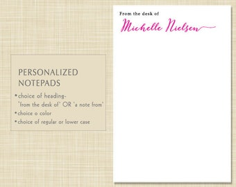Personalized Notepad - Personalized Note Pad - from the desk of - a note from - MODERN CALLIGRAPHY