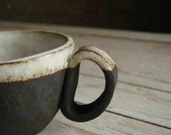 Pottery Cup, Handmade Pottery Coffee Cup, Espresso Cup, Dark Coffee Cup