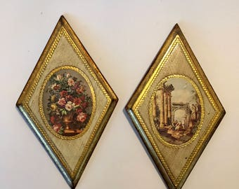 Gold Wall Plaques Made in Italy / Vintage Italian Wood Painted Prints Shabby Chic Wall Hangings