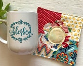 Blessed Mug and Quilted Coaster Gift Set