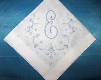 Monogram handkerchief for women / for bride from mother / vintage wedding hankerchief