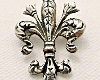 Vintage German Silver Fleur Di Lis Brooch