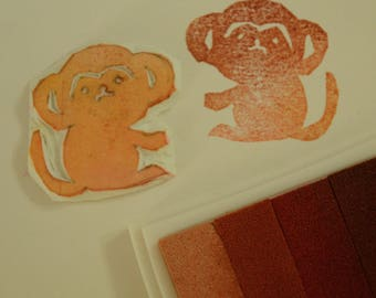 Monkey -Handmade unmounted Rubber stamp