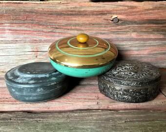 Shea Lotion Bar in Vintage Vanity Jar, Trinket Box - Zinc, Green Teal & Gold Metal, or Vintage Metal