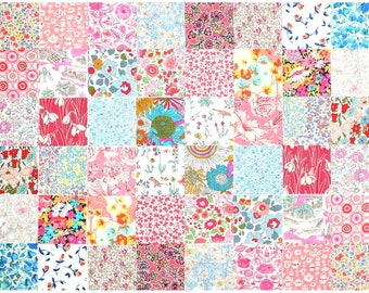 """Liberty of London 48 Mini 2.5"""" Charm Square Pack 2 of each design Pastel Muted Pink Aqua Patchwork Quilting Cotton Tana Lawn Fabric"""
