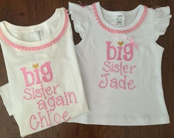 Two matching shirts- Big Sister Shirt, Little Brother,  Pregnancy New Baby shirt, Sibling matching t-shirts.