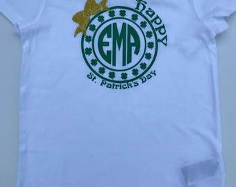 Girls monogrammed St. Patrick's Day Shirt, Irish T-Shirt, St. Patrick's Day T-shirt  Girls tee shirt