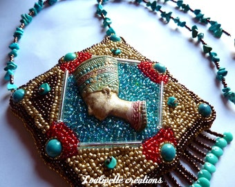 """Embroidered necklace """"Queen Nefertiti of Egypt"""""""