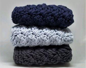 Cotton Kitchen Cloths - Set of 3 Crocheted Dishcloth - Dark Blue, Light Blue, and Dark Gray Dishtowels - Kitchen Decor - Vintage Style