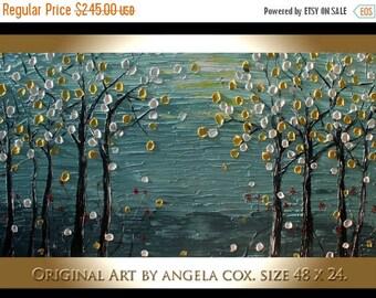 SALE Original Modern  Landscape  Gray  Forst  Abstract Acrylic Impasto Palette Knife  Painting. Size 48 x 24