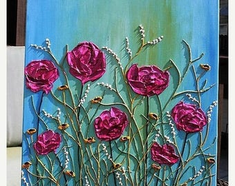 SALE Original  Heavy  Impasto  Pink Blue   Flowers  Palette  Knife Acrylic Painting. Made2Order.