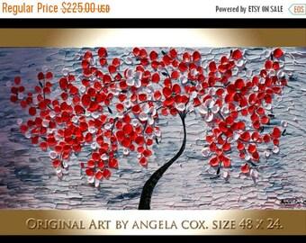 SALE Original Modern  Red Flowers Tree Handpainted   Acrylic Impasto Palette Knife   Tree Painting. MADE2ORDER..