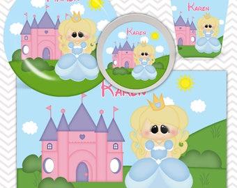 Princess Cinderella Plate, Bowl, Cup, Placemat - Personalized Princess Dinnerware for Kids - Custom Tableware