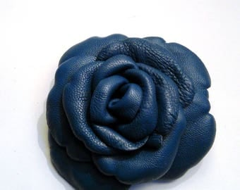 Prussian blue lambskin leather flower brooch