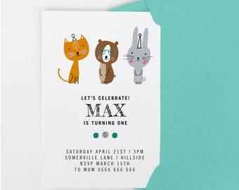 1st birthday invitation, kids party invitation, Printable birthday invite, first birthday invitation, boys birthday party invite