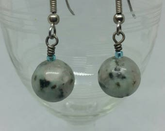 Sesame Jasper Drop Earrings with Surgical Steel Hooks
