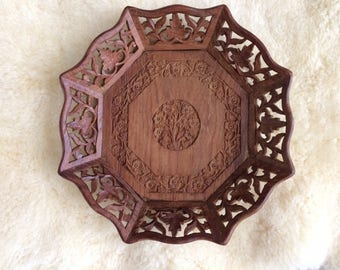 beautiful India hand-carved wooden tray  / Bohomian