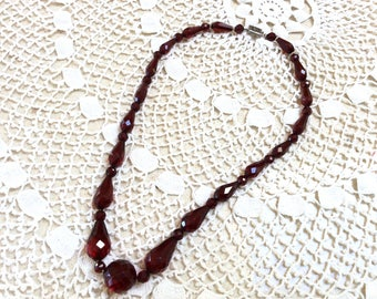 Vintage Catalin Faceted Necklace, Beautiful Deep Cherry Catalin Necklace with Sterling Silver Clasp, 1930s