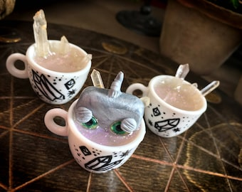 Crystalpuccino cups // robot crystal tea cup cappuccino mini miniature cute kawaii quartz