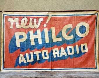 Antique 1930s Automotive Philco Radio Advertising Banner
