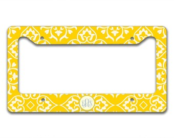 Monogrammed license plate frame , Bright yellow pattern periwinkle blue monogram , Personalized gift for women, Gift under 20   (9913)