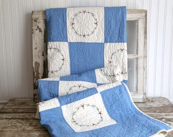 Vintage Blue and White Quilt, Twin Size Quilt, Embroidered Quilt Squares, Child's Room Quilt, Country Blue Quilt, Farmhouse Bedroom Quilt