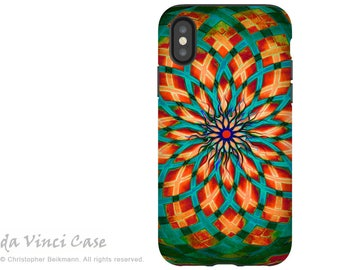 Geometric Teal Green and Orange iPhone X Tough Case - Dual Layer Protection for iPhone 10 - Southwest Kalotuscope by Da Vinci Case