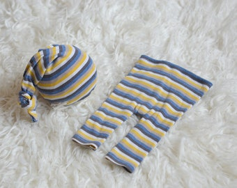 RTS Newborn boy/girl set of pants with matching sleepy hat Newborn Baby boy photo prop stripes blue cream mustard