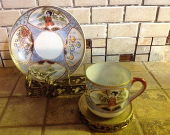 Asian Demitasse Cups & Saucers Matko Made In Japan