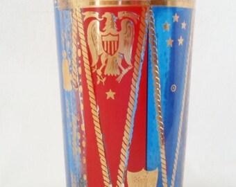 ON SALE Vintage Grorges Briard Patriotic Bar Glass, Barware, 22k Gold, Red, Blue, Stars, Eagle, Shield, Mid Century Modern