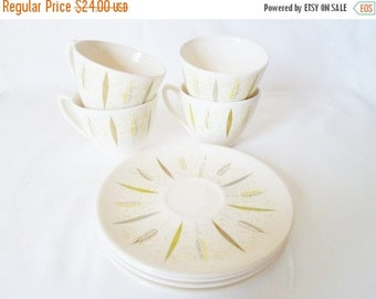 ON SALE Vintage Knowles Festival F-5220  Set of Four Cups and Saucers  Mid Century Modern Atomic  Knowles Pottery Cup  Saucer