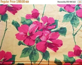 ON SALE Vintage, Hawaiian, Hibiscus on Yellow, Barkcloth Fabric, Floral, Pink, Green, Tropical, 4.8 Yards total, 1930's MCM, Retro, Beach Ho