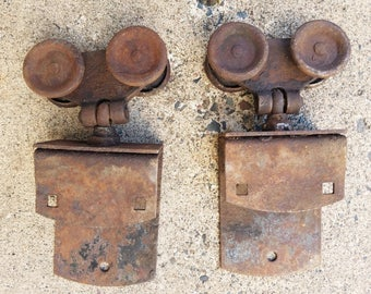 vintage set of 2 barn door rollers trolleys sliding barn door rollers