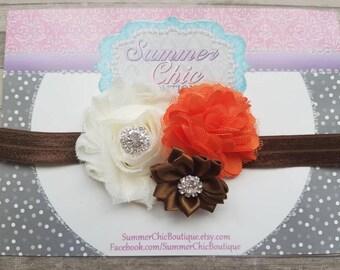 Fall Baby Headband, Infant Headband, Newborn Headband, Brown, Ivory,  and Orange Headband, Baby Headband, Thanksgiving Headband