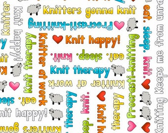 Multicolor Knitting Words on White Fabric by Henry Glass Knit Happy yardage