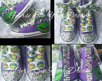 Swarovski Crystal Rhinestone Ninja Turtle Birthday Converse Shoes - Custom Bling Shoes